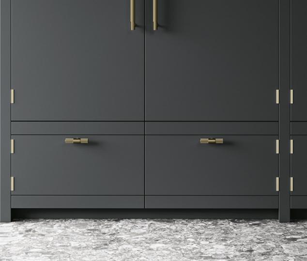 Cucina elegante in finitura ottone | Maniglia - Anuba | MITON Cucine
