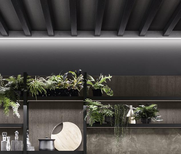 Cucina moderna bianco laccato e nero opaco | Boiserie - Levante | MITON Cucine