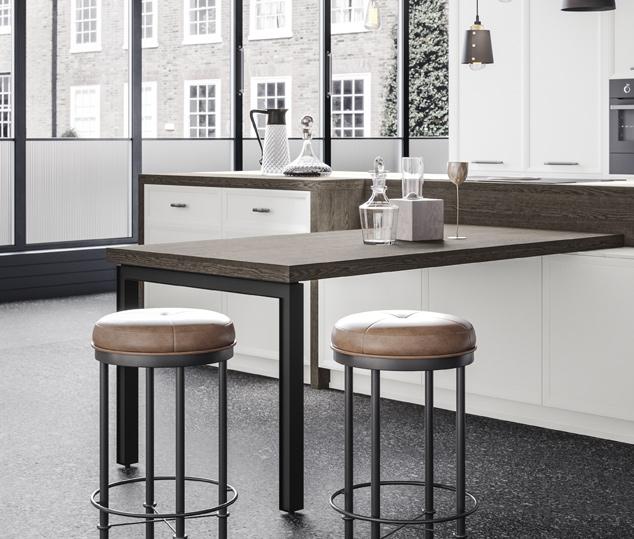 Cucina moderna bianco laccato e nero opaco | Tavolo - Levante | MITON Cucine