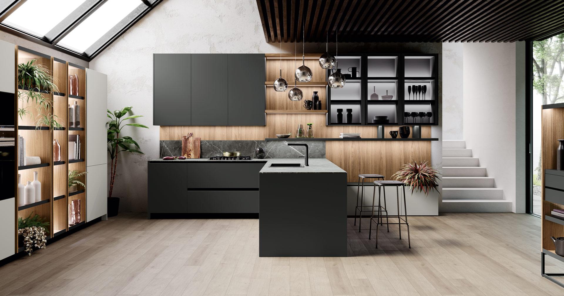 Cucina in legno noce e bilaminato opaco | Ménta_03 | MITON ...