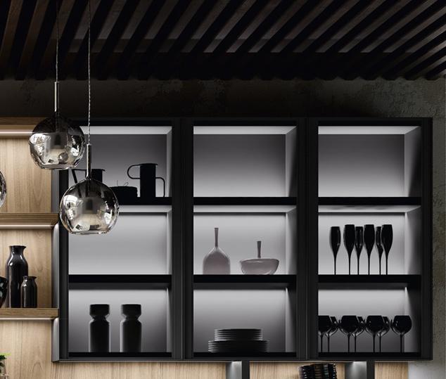 Cucina in legno noce e bilaminato opaco | Ménta_03 - Anta Vetrina | MITON Cucine