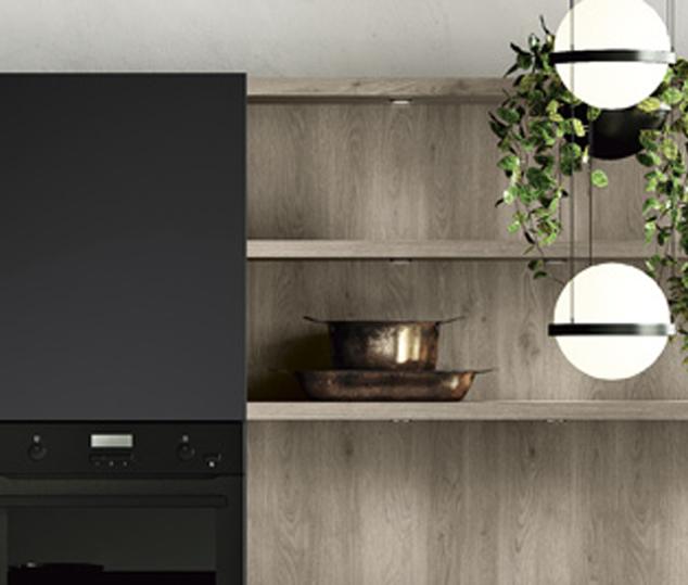 Cucina minimal in bilaminato legno rovere Nechinger | Boiserie Tilo 2.0 | MITON Cucine