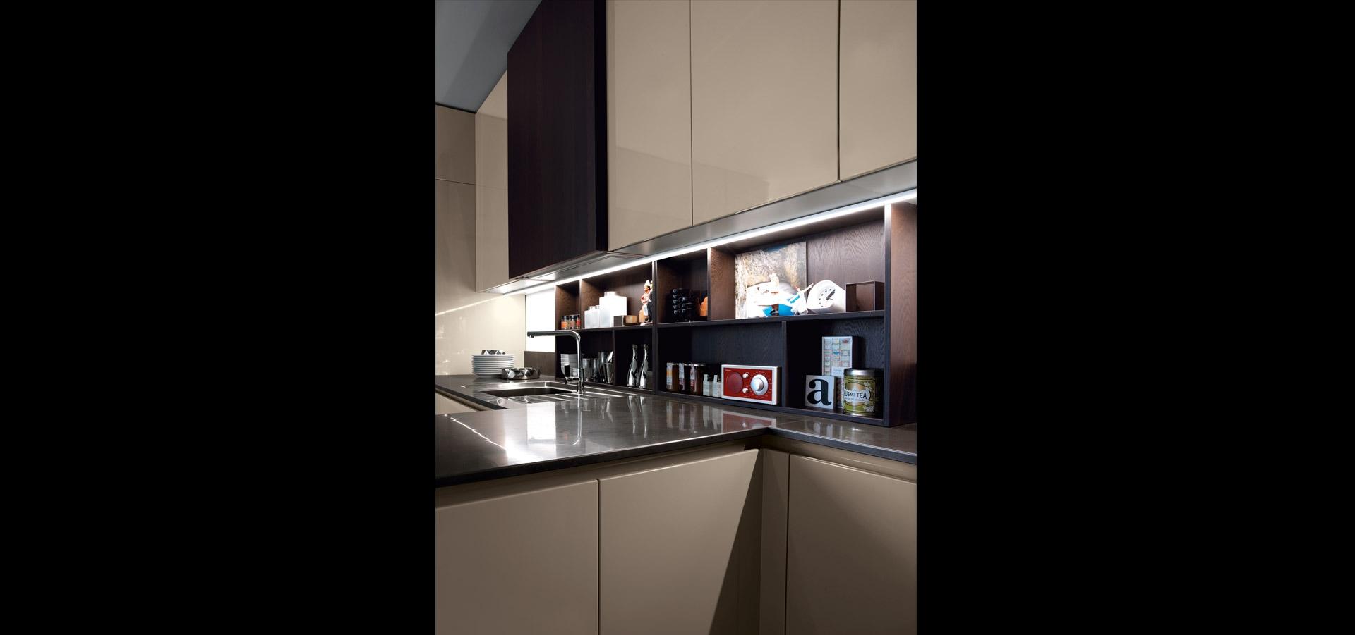 Cucina cappuccino lucido e rovere | Limha Glossy | MITON Cucine
