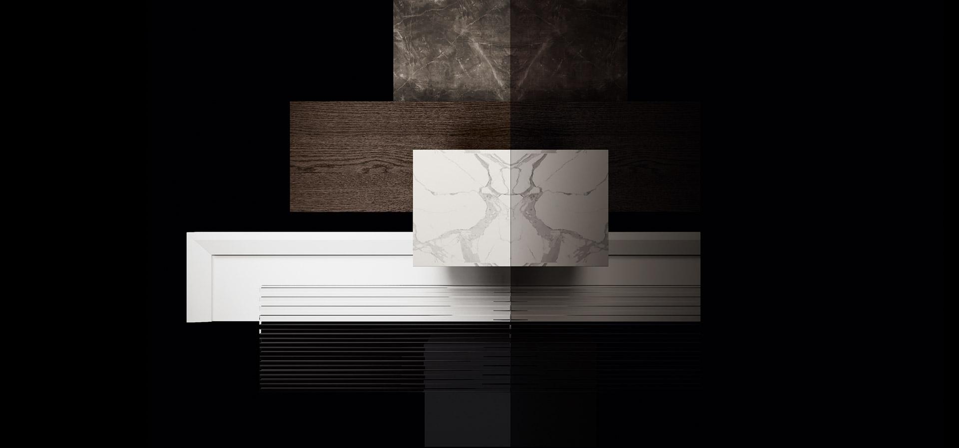 Cucina moderna bianco laccato e nero opaco | Levante | MITON Cucine