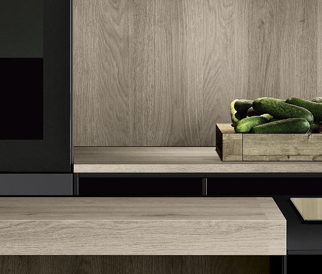 Cucina minimal in bilaminato legno rovere Nechinger | Piano Snack Tilo 2.0 | MITON Cucine