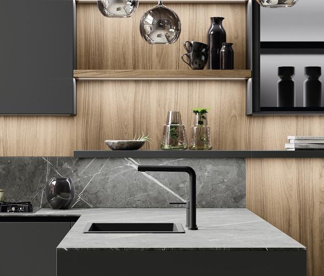 Cucina in legno noce e bilaminato opaco | Ménta_03 - Worktop | MITON Cucine