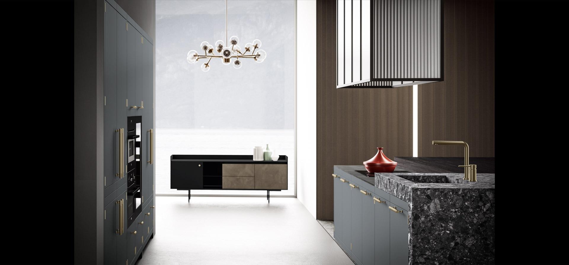 Cucina elegante in finitura ottone | Anuba | MITON Cucine