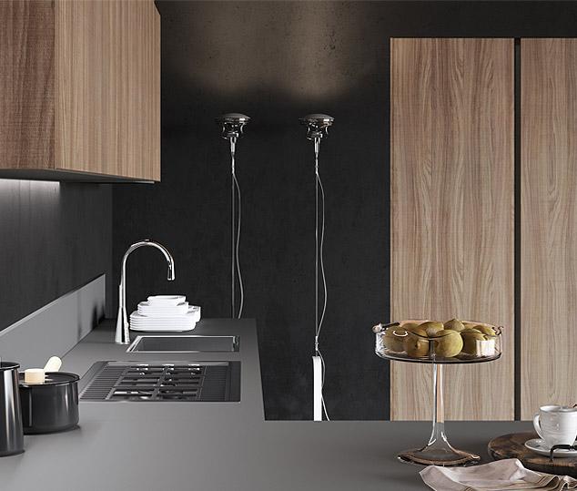 Cucina contemporanea in bilaminato legno | Anta Colonne e Pensili - Ménta_06 | MITON Cucine