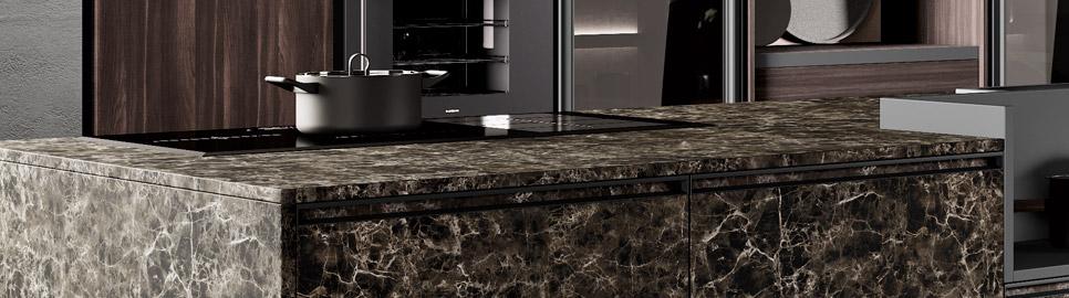 Cucina in bilaminato legno e telaio in alluminio | Ménta_01 - Anta e Worktop Isola | MITON Cucine