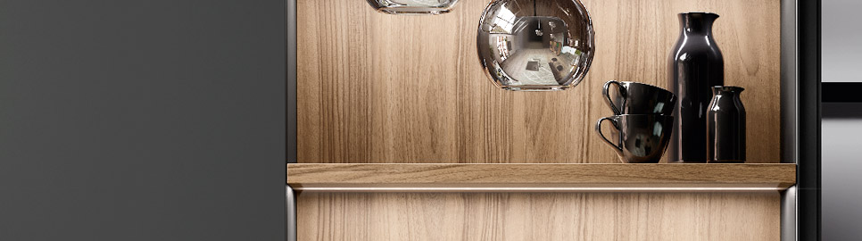 Cucina in legno noce e bilaminato opaco | Ménta_03 - Sistema Waind | MITON Cucine